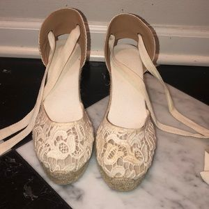 white lace up espadrilles soludos